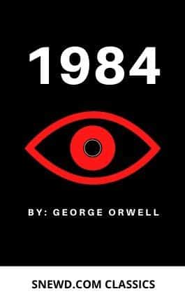 This is the cover of the book 1984 by George Orwell. This picture also points to a copy of the book in PDF, EPUB, AZW3 and MOBI formats available to download for free on Snewd.com.