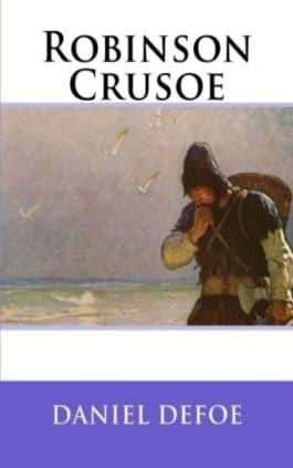 The cover of the book Robinson Crusoe by Daniel Defoe. This picture also points to a copy of the book in PDF, EPUB, AZW3 and MOBI formats available to download for free on Snewd.com.