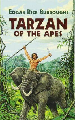 The cover of the book Tarzan Of The Apes by Edgar Rice Burroughs. This picture also points to a copy of the book in PDF, EPUB, AZW3 and MOBI formats available to download for free on Snewd.com.