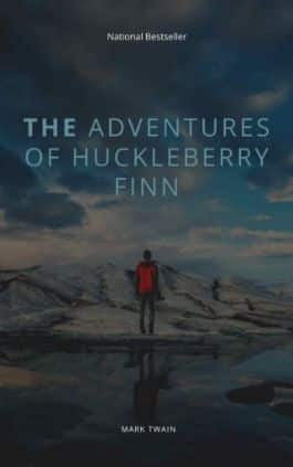 The cover of the book The Adventures of Huckleberry Finn by Mark Twain. This picture also points to a copy of the book in PDF, EPUB, AZW3 and MOBI formats available to download for free on Snewd.com.