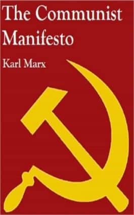 The cover of the book The Communist Manifesto by Friedrich Engels & Karl Marx. This picture also points to a copy of the book in PDF, EPUB, AZW3 and MOBI formats available to download for free on Snewd.com.