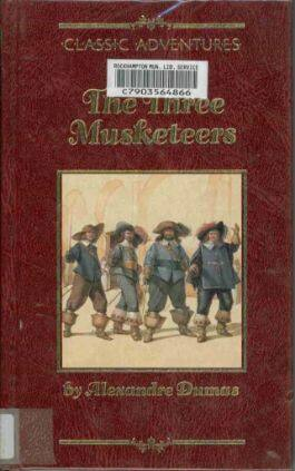 The cover of the book The Three Musketeers by Alexandre Dumas. This picture also points to a copy of the book in PDF, EPUB, AZW3 and MOBI formats available to download for free on Snewd.com.