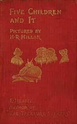 This is the cover of the book Five Children and It by Edith Nesbit. This picture also points to a copy of the book in PDF, EPUB, AZW3 and MOBI formats available to download for free on Snewd.com.