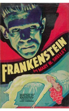 The cover of the book Frankenstein by Mary W. Shelley. This picture also points to a copy of the book in PDF, EPUB, AZW3 and MOBI formats available to download for free on Snewd.com.
