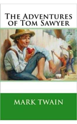 The cover of the book The Adventures of Tom Sawyer by Mark Twain. This picture also points to a copy of the book in PDF, EPUB, AZW3 and MOBI formats available to download for free on Snewd.com.