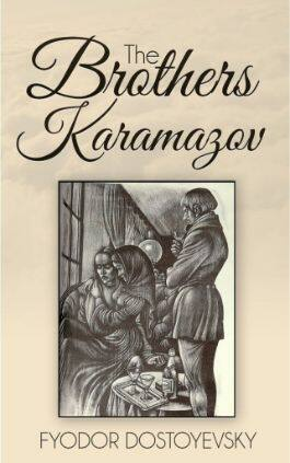 The cover of the book The Brothers Karamazov by Fyodor Dostoyevsky. This picture also points to a copy of the book in PDF, EPUB, AZW3 and MOBI formats available to download for free on Snewd.com.